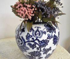 """Blue and White China Vase, Asian Vase, Large 8"""" x 8"""" round China Vase, Heavy, Thick China vase, Lotus blossom Vase by SocialmarysTreasures on Etsy"""