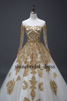 Fashion Gold Applique A Line Wedding Prom Formal Gown Quinceanera Dresses Custom