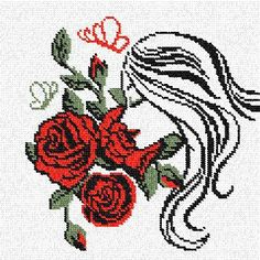 Gallery.ru / Фото #14 - рисунки - unito Cross Stitch Angels, Butterfly Cross Stitch, Cross Stitch Flowers, Cross Stitch Charts, Cross Stitch Patterns, Crochet Patterns, Blackwork Embroidery, Cross Stitch Embroidery, Cross Stitch Silhouette