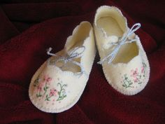 vintage style handmade wool blend felt booties, with hand embroidered flowers by dragonbees on Etsy, $17.95