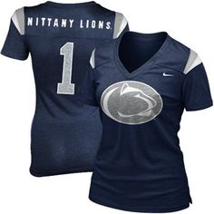 official photos eca22 a98e9 Nike Penn State Nittany Lions Ladies Replica Football V-Neck Premium T-Shirt  - Navy Blue