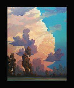 Impressionist Art Oil Landscape Western Sky  Clouds River Original Plein air artist Painting