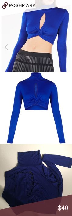 NWT BCBG long sleeve twisted knot high neck NWT BCBG long sleeve twisted knot high neck crop top. Beautiful Cobalt blue color. BCBGMaxAzria Tops Tees - Long Sleeve