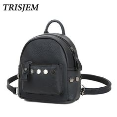 d14604ffa42b Fashion PU Women Backpack Mini Rivet Backpack Girls School Bag for  Teenagers Girls Leather Small Backpack Mochila Travel Bags