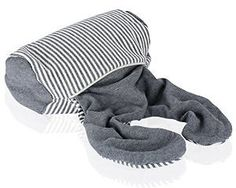 LANGRIA 2-in-1 Transformable Microbeads Airplane Travel Neck Support Pillow (Grey and White Stripes): Home & Kitchen