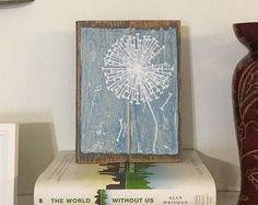 "Dandelion Single Farmhouse Distressed Wood Painting (Blue & White)-  Rustic, Reclaimed Wood, Pallet, Boho, Shabby Chic Decor - 6.5"" x 9"" -    Edit Listing  - Etsy"