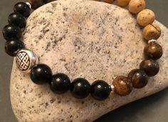 Pint of Stout bracelet. Onyx, bronzite & jasper.SALE on now https://img0.etsystatic.com/140/0/8965783/il_fullxfull.890106238_ky82.jpg #guinness #etsymntt #menswear