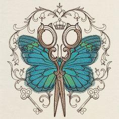 Parisian Butterfly Scissors design (UT17953) from UrbanThreads.com