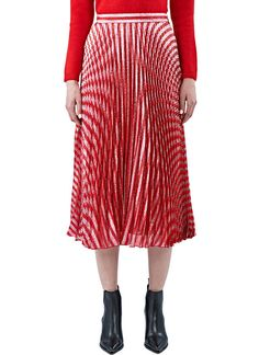 Women's Skirts - Clothing | Order Now at LN-CC - Mid-Length Pleated Lamé Skirt