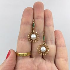 victorian pearl and emerald earrings Reverie antique jewelry nyc - Gold Jewelry Pearl Jewelry, Indian Jewelry, Diamond Jewelry, Antique Jewelry, Silver Jewelry, Vintage Jewelry, Jewelry Necklaces, Fine Jewelry, Silver Ring