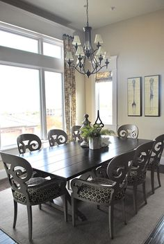 I love everything about this dining space. I'd have more color, but I love the design elements.