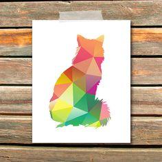 Cat Art Print - 8x10, Geometric, Cat, Kitten, Kitty, Colorful, Wall Art, Instant Download, Home Decor
