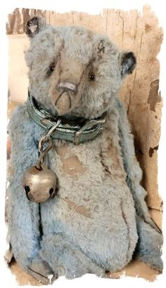 "Image of Tattered & Worn - 11.5"" Old Blue Teddy Bear w/ vintage leather collar- By Whendi's Bears"
