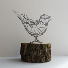 sculpture | Song Sparrow Wire Sculpture by sparkflight on Etsy