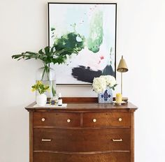 Peppermint Moss Abstract Canvas from Lindsay Letters / photographed and styled by Melissa Oholendt Dresser Styling, Interior And Exterior, Interior Design, My Living Room, Dresser In Living Room, Abstract Canvas, Home Decor Inspiration, Decor Ideas, Decoration