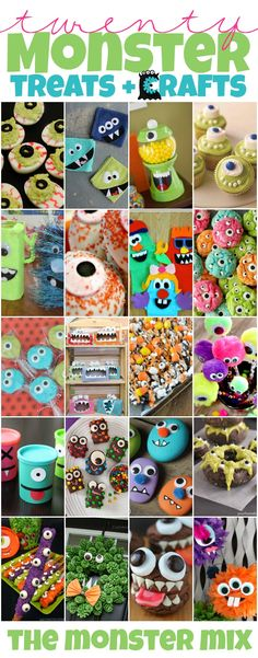 The Monster Mix | Monster Themed Treats and Crafts... Great ideas for a Halloween or birthday party.