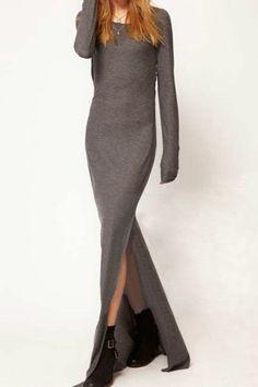 ROMWE | Split Grey Slim Maxi Dress, The Latest Street Fashion