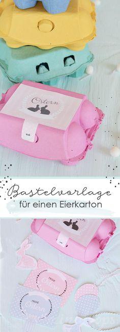 Last minute - Geschenk und Deko für Ostern. Einfach Bastelvorlage ausdrucken und auf einen Eierkarton kleben // Bastelvorlage für einen Eierkarton in Rosa und Mint // #Ostern #Bastelvorlage #Eierkarton