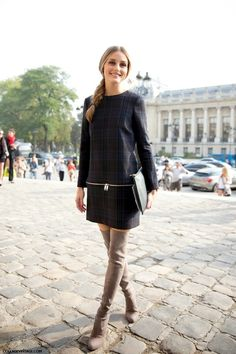 PFW PARIS FASHION WEEK STREET STYLE SHIFT DRESSES OVER THE KNEE BOOTS MODERN MOD OLIVIA PALERMO ZARA CHECKERED PLAID WAIST ZIPPER SHIDT MINI...