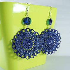 Items similar to Blue Crochet Earrings with seed beads on Etsy