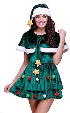 【Bananal】クリスマスツリー ワンピース 帽子 ケープ付き コスチューム グリーン レディース フリーサイズ 飾り靴下おまけ