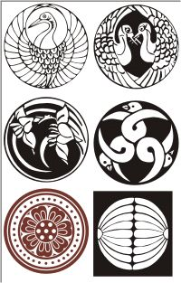 Japanese Designs 1 inch circles black and white japanese crests flowersartdeco