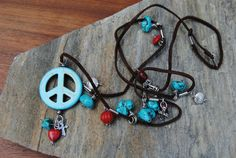 BOHO Artisan Howlite Turquoise Coral Cross Peace by RECCIEatETSY, $46.98