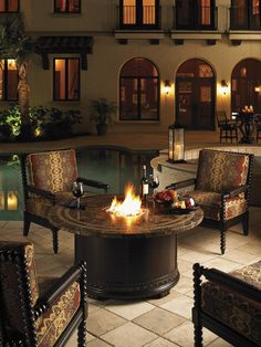 A gas fire pit is the perfect centerpiece to gather around with friends and family.