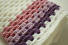 Crochet Baby Blanket / Afghan, White Purple Granny Square, Gift on Etsy, $40.14 AUD