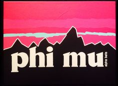Yay for earthy phi mus Phi Mu Canvas, Sorority Canvas, Cute Canvas, Sorority Life, Phi Mu Alpha, Kappa Kappa Gamma, Phi Mu Crafts, Sorority Crafts, Big Little Gifts