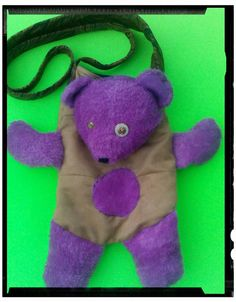 3D Teddy Bear Tote/Purple,beige,turquoise by handbags, art, paintings,side bags, upcycled, fashion, barbie