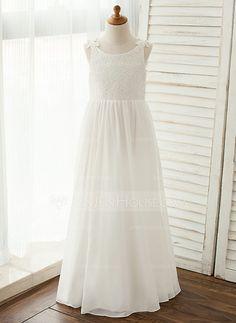 54.49  A-Line Princess Floor-length Flower Girl Dress - Chiffon Lace  Sleeveless Scoop Neck With Appliques (010122577) 9e5a9365607d