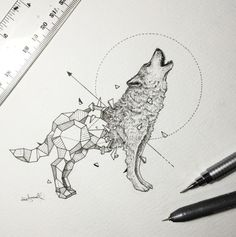 Kerby Rosanes is a superb talented illustrator based in Manila, capital of the Philippines. What he loves above all in illustration is the sensation of his pencils on a sheet of paper. He just finished a new series of illustrations he called Geometri … - Geometric Drawing, Geometric Shapes, Geometric Animal, Geometric Wolf Tattoo, Tattoo Abstract, Geometric Sleeve, Mandala Tattoo, Wolf Tattoos, Animal Tattoos