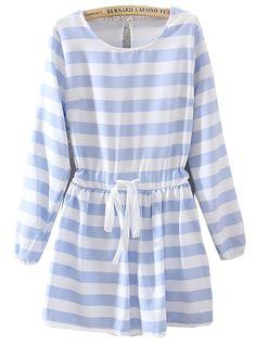 Blue White Striped Long Sleeve Drawstring Dress US$24.43