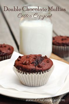 """Double Chocolate Muffins (Costco Copycat Recipe)–THE BEST """"MUFFINS"""" I'VE EVER HAD"""