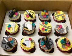 Fondant Hair Stylist Dresser Salon Cupcake Toppers Dryer Scissors Brush Nail Polish Curling Iron Birthday Edible