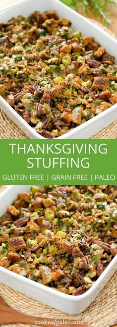 Gluten-free stuffing - this paleo cornbread dressing recipe is grain-free, but full of traditional Thanksgiving holiday flavors. via /cookeatpaleo/ A gluten-free, grain-free stuffing that's full of traditional Thanksgiving holiday flavors. Gluten Free Thanksgiving, Thanksgiving Stuffing, Thanksgiving Holiday, Healthy Thanksgiving Recipes, Thanksgiving Traditions, Holiday Recipes, Gluten Free Stuffing, Stuffing Recipes, Paleo Stuffing