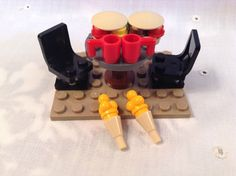 Lego Dining Table, Swivel Chairs, & Food; Burgers, Ice Cream, Cups 27 Pcs. #Lego