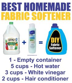Make your own Homemade Fabric Softener with this super easy recipe. This is the best high efficiency washer fabric softener homemade clone that you can diy. You can really save a lot of money and cut costs on Fabric Softener Homemade Cleaning Supplies, Household Cleaning Tips, Cleaning Recipes, House Cleaning Tips, Cleaning Hacks, Deep Cleaning, Household Cleaners, Household Products, Homemade Products