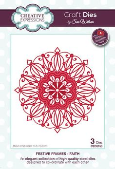 Creative Expressions Sue Wilson Die Festive Frames - Faith, An ornate frame with a festive flair that can be used all year long. Size: x inches. Scrapbook Supplies, Craft Supplies, Scrapbooking, Royal Icing Templates, Faith Crafts, Sue Wilson Dies, Cross Stitch Kits, Creative Crafts, Paper Crafts