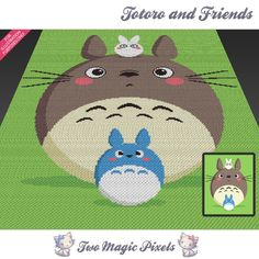 Totoro and Friends crochet blanket pattern; c2c, cross stitch; graph; pdf download; no written counts or row-by-row instructions by TwoMagicPixels, $5.99 USD