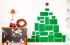 Ideia criativa para montar uma árvore que não ocupa espaço: envelope!