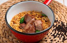 Κριθαράκι με μοσχάρι και φρέσκο θυμάρι Grains, Rice, Beef, Cooking, Food, Meat, Kitchen, Kochen, Meals