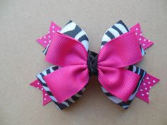 Zebra, pink and white polka dot bow, zebra bow, hair bow, girl's hair bow, hair accessory, girl's hair accessory, zebra print, bow, clip on Etsy, $5.95