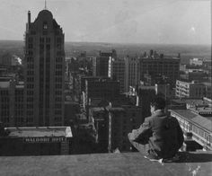 Downtown Dallas, Texas, from the roof of the old Baker Hotel (1925)