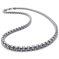 SANDRA Mens Jewelry 50 mm 1640 Silver Stainless Steel Square Rolo Necklace Chain *** You can get additional details at the image link.