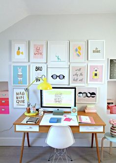 Make the most of your creative workspace with multiple frames and bright colours to open up the space.