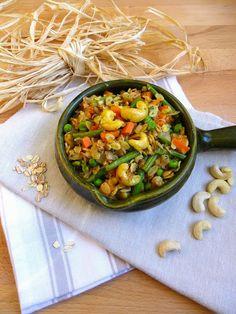 Rosenoisettes, Calme et Gourmandises...: Upma à l'avoine et aux petits légumes {Bataille Food #23}