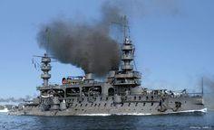 French battleship Charles Martel.  Very interesting combination of 19th and 20th century tech, single gun turrets and gun decks.