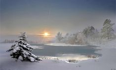 Sunset at winter - lovely, snow, sunset, winter Landscape Pictures, Landscape Paintings, Beautiful Paintings, Beautiful Landscapes, Winter Photography, Nature Photography, Mountain Drawing, Winter Painting, Winter Photos